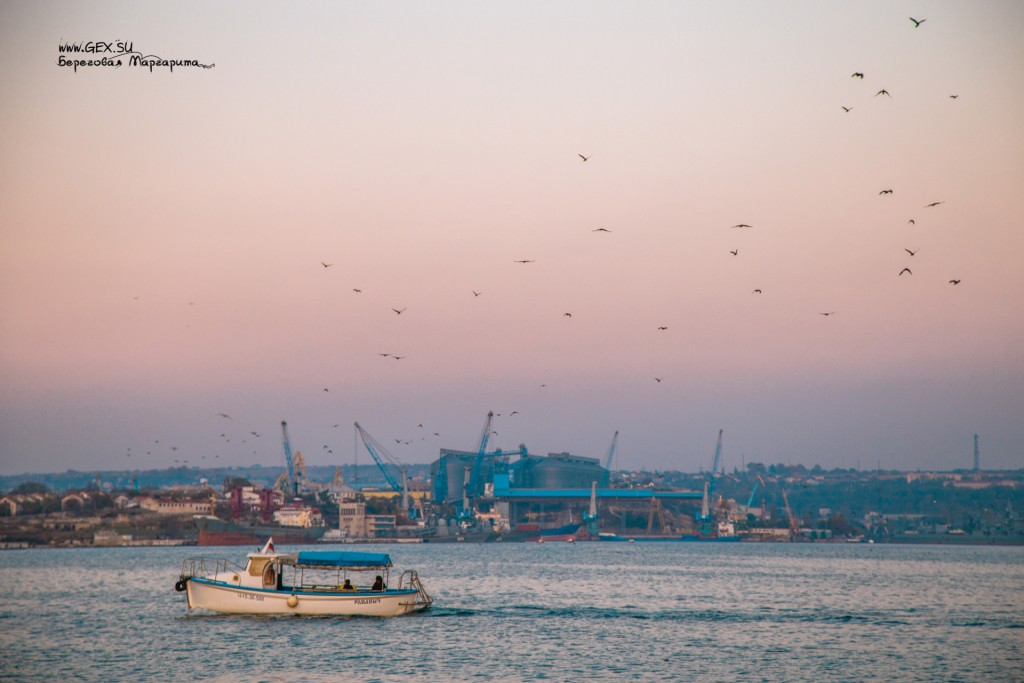 корабельная бухта на закате
